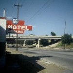 Leaving Tulsa, the juxtaposition of the old '66 motel and the new interstate.