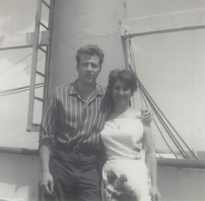 Marlin and Elvira on the Maule ship (Courtesy of Marlin Wallace)