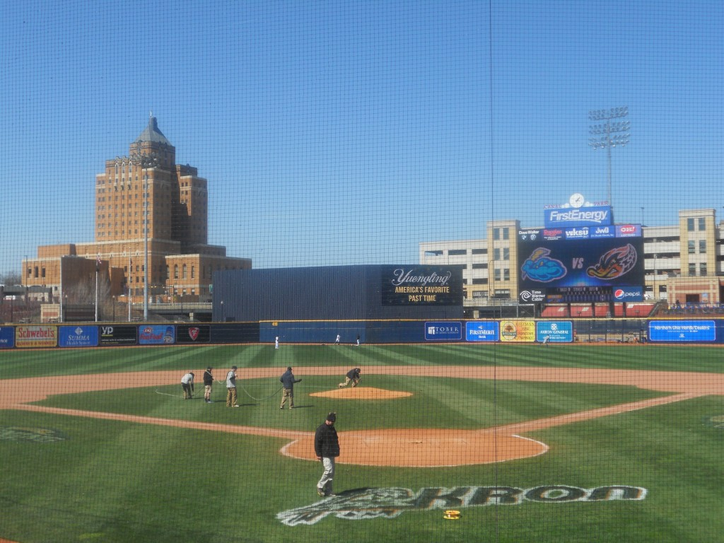 View from home plate, Akron, April 16, 2014