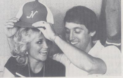 Sounds fan Barbara Mandrell and Farrell Owens. (Courtesy of Nashville Sounds)