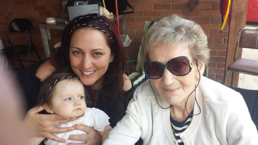 Sophie with Chet Madej's daughter and her grandaughter on the grandaughter's 1st birthday on July 19