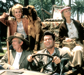 Donna Douglas, upper left. The Beverly Hillbillies jalopy is on display at the Ralph Foster Museum, south of Springfield.