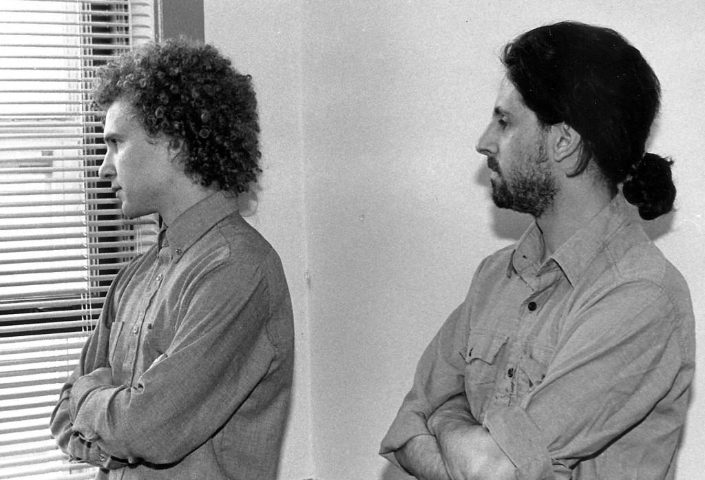 Scott Momenthy (L) and Jeremy Pollack contemplating the future of the newspaper industry in 1986 (Courtesy of Scott Momenthy)