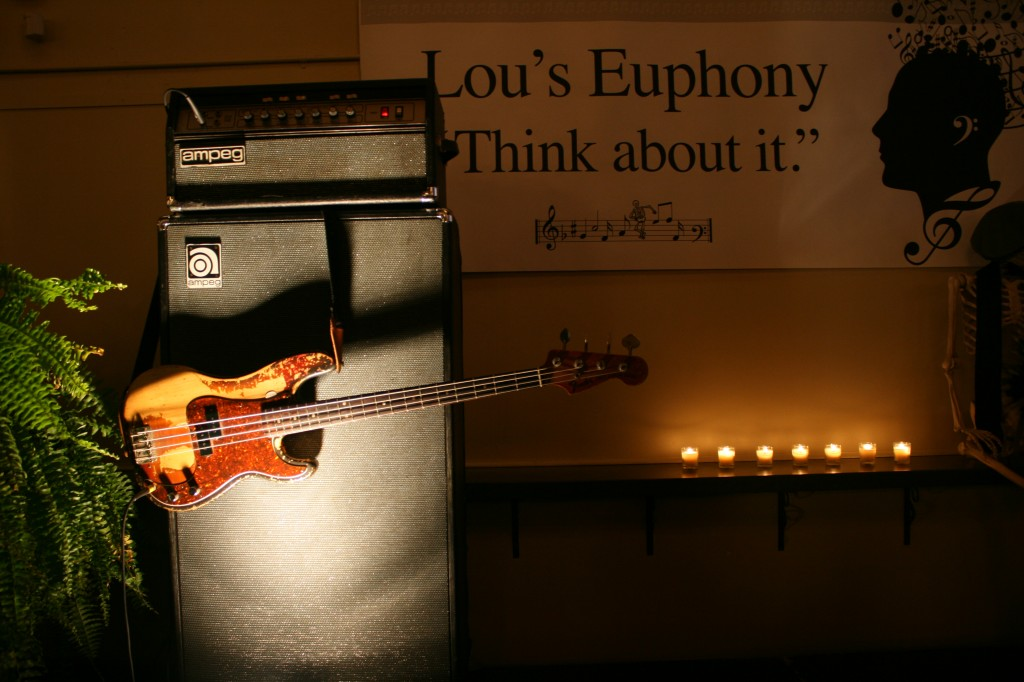 Lou's worldly bass, Nov. 9, 2014 (Photo by Rene' Greblo)
