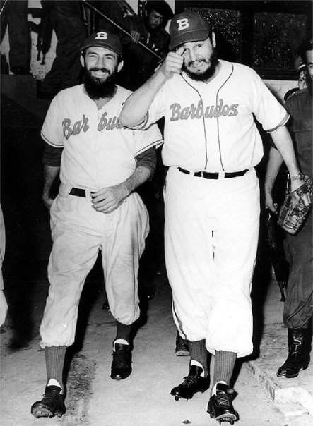 "Fidel Castro (right) and Camilo Cienfuegos in 1959 when they played for Barbudos (""The Bearded Ones."") A spirited leader of the revolution, Cienfuegos became canonized in Cuban culture later in 1959 after his Cessna 310 airplane disappeared over the ocean. He died at the age of 27."