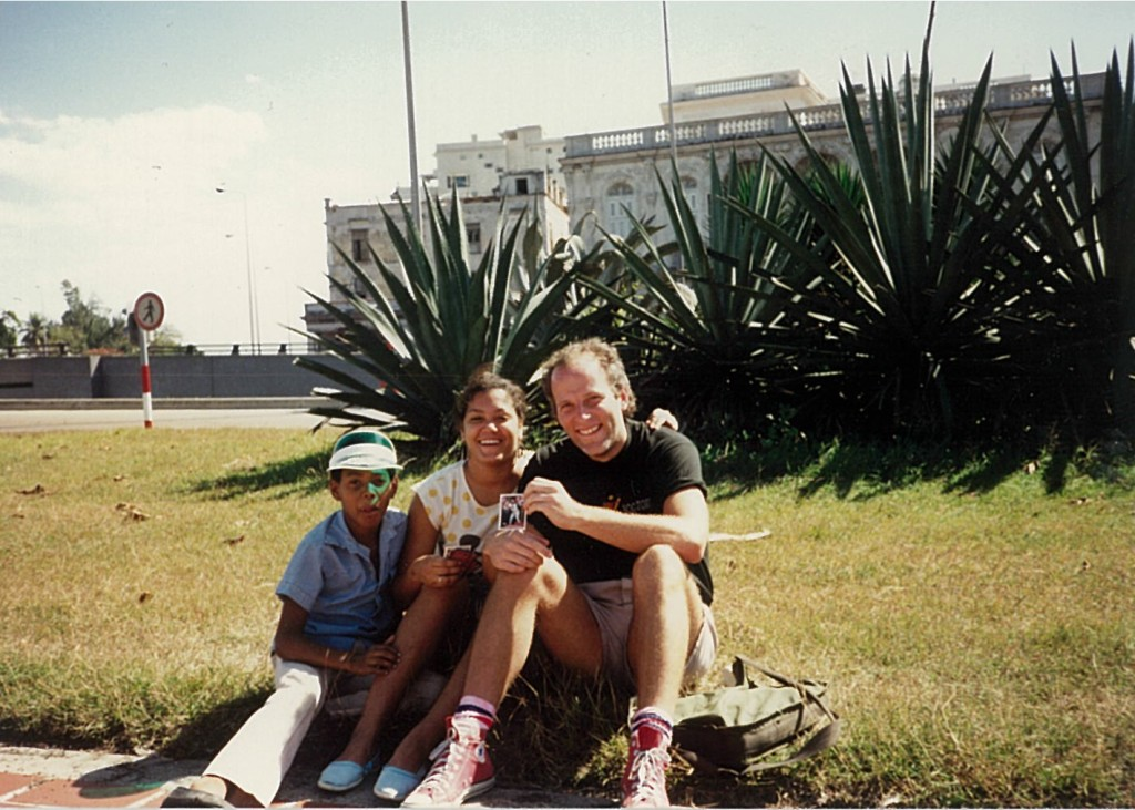 The author in a bit of Havana baseball diplomacy, 1989