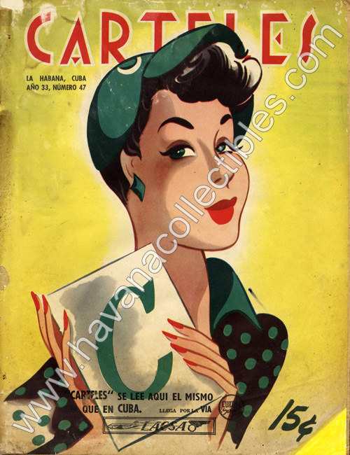 The Cienfuegos Baseball Club on the cover of Carteles, Nov. 1952 (Art by Andres Garcia Benitez)