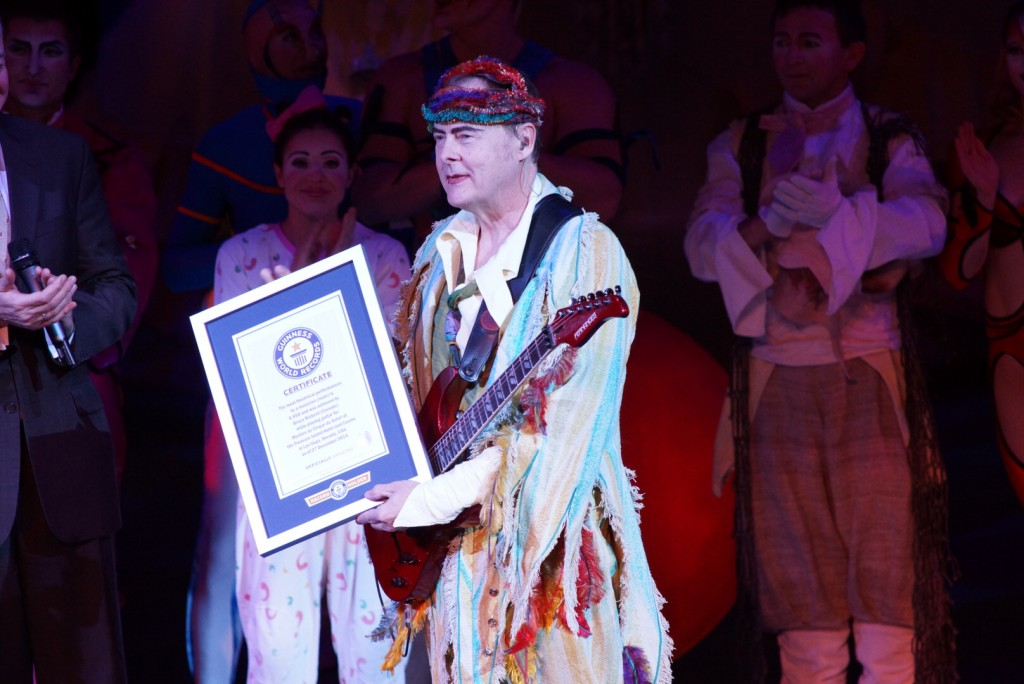 Bruce Rickerd getting certified by the Guinness Book of World Records for not missing a performance in 21 years (Courtesy of Mystere', Cirque Du Soleil)