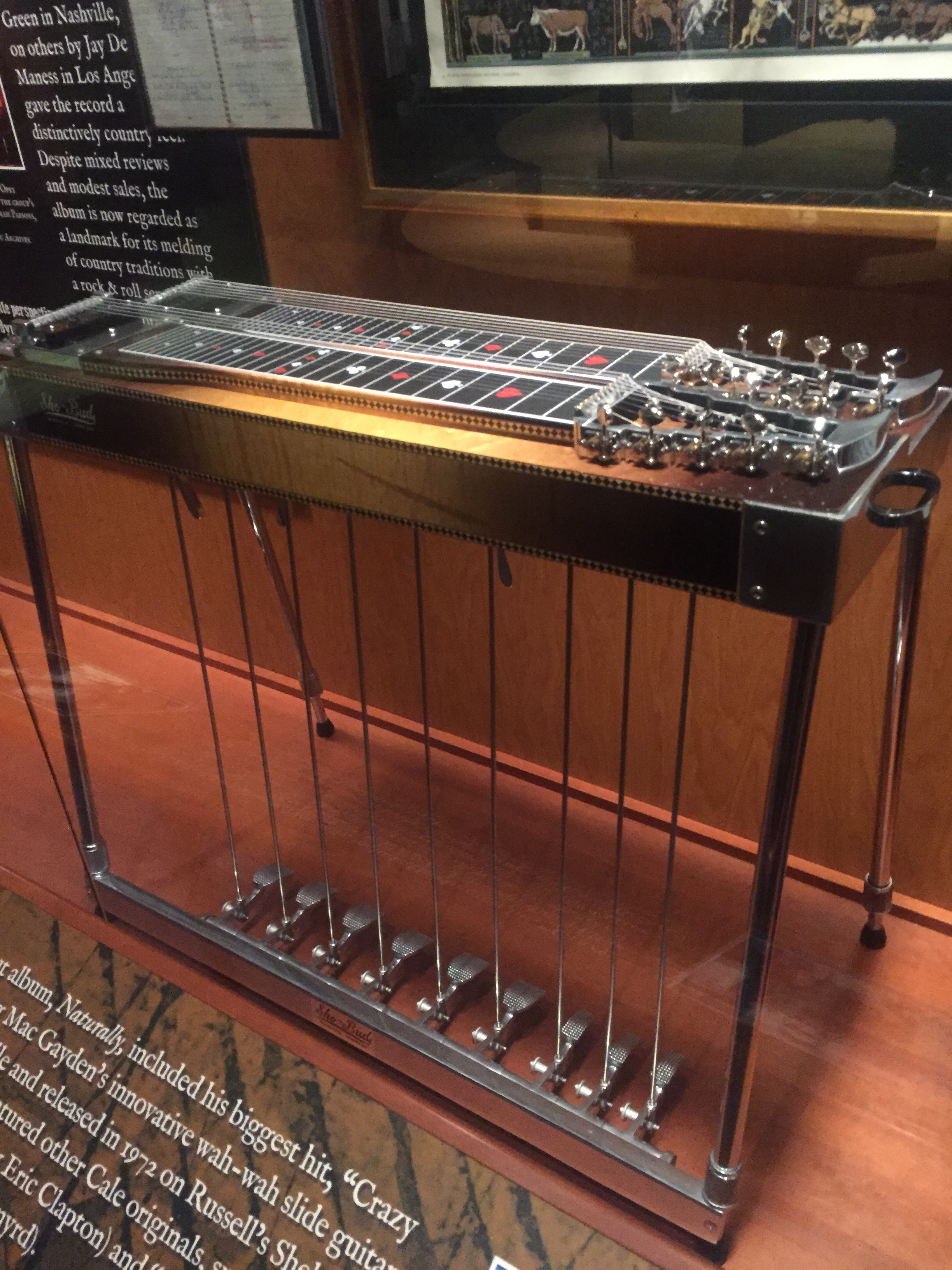 "Nashville Cat Lloyd Green's Show-Bud pedal steel which was used on the Byrds 1968 album ""Sweetheart of the Rodeo,"" introducing pedal steel to rock audiences. Green also played this instrument on Tammy Wynette's ""D-I-V-O-R-C-E."" (Photo by Dave Hoekstra)"