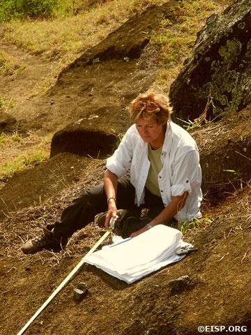 Jo Anne Van Tilburg at Rano Raraku (file pix)