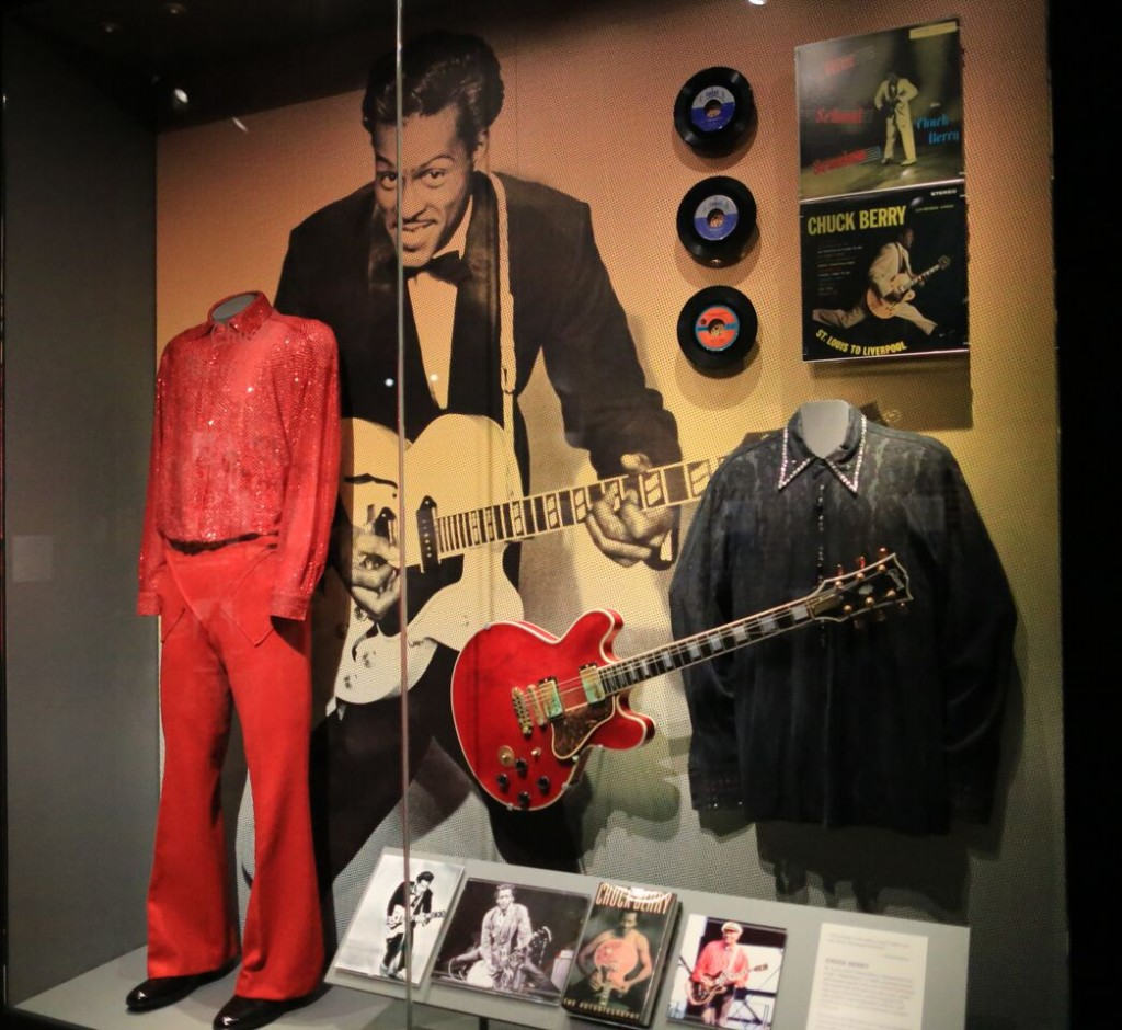 "American poet and Cardinals fan Chuck Berry recognized with his ""Special Occasion"" Gibson ES-355 that he deployed in the 1987 documentary ""Hail!, Hail!, Rock n' Roll"" (Museum photo by Bill Motchan)"