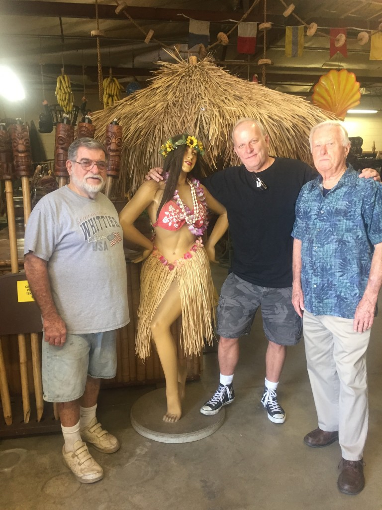Oceanic Arts co-founders LeRoy Schmaltz (far left) and Bob Van Oosting (far right) with author and his friend.