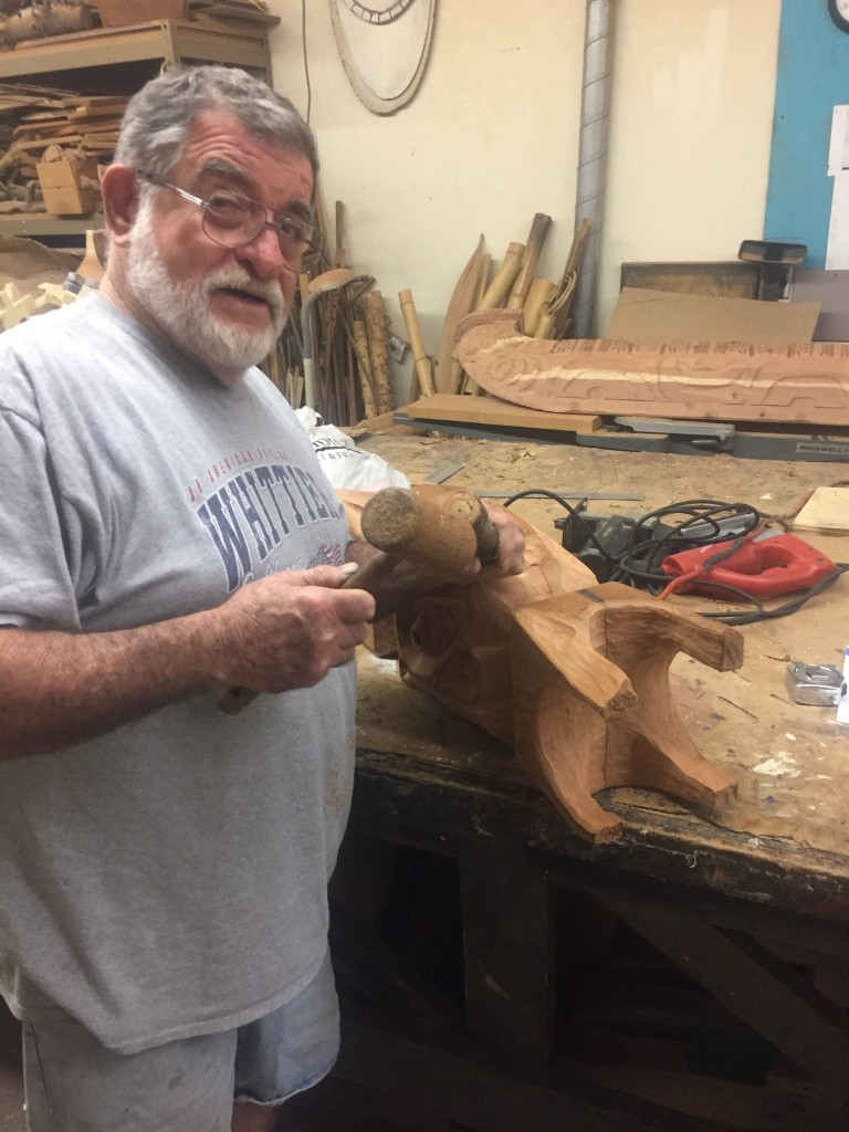 LeRoy Schmaltz, still carving at 81 (D. Hoekstra photo)